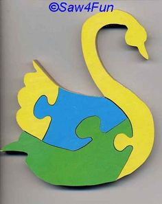 lion scroll saw puzzle patterns | swan puzzle scroll saw pattern 4 piece puzzle includes color