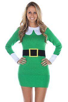 Women's Ugly Christmas Sweater - Elf Sweater Dress Green - http://www.fivedollarmarket.com/womens-ugly-christmas-sweater-elf-sweater-dress-green/