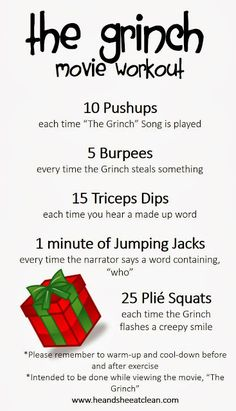 How much fun is this? The Grinch movie workout! Grab the kids and get them moving while you burn a sweat too!