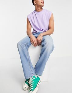 ASOS DESIGN straight leg jeans in tinted light wash