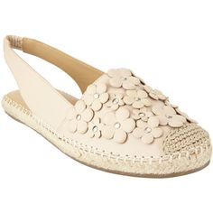 John Lewis Laurie Floral Slingback Espadrilles , Rose Beige ($74) ❤ liked on Polyvore featuring shoes, sandals, rose beige, floral sandals, leather slip on sandals, slingback flat sandals, leather slip on shoes and leather espadrilles