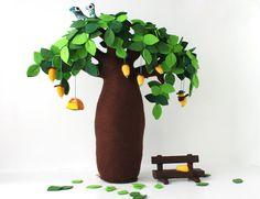 Baobab  Felt Tree Soft sculpture Home decor Kids Room by Intres
