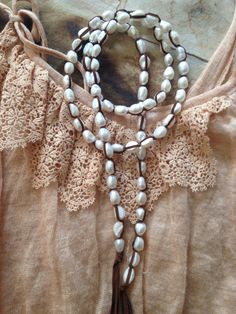 Large oblong freshwater pearls #julie Moloney designs #lariat #pearl #leather #tassel #siede #st Louis