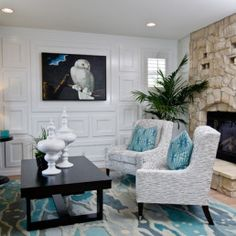 aqua blue and grey living room You had me at Grey!  Just Decorate Blog