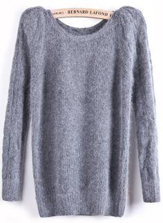 Grey Long Sleeve Elastic Rabbit Fluffy Sweater US$37.38