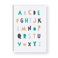 This funky alphabet print is packed full of colour and a great way to help your little one learn their ABC. It also ties perfectly back with my 'Moody Blues' print. High Quality Print on 35...