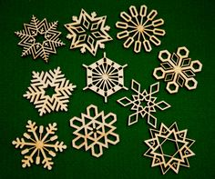 Set of 10 wooden snowflake Christmas ornaments. $17.50, via Etsy.