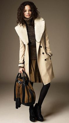 My kind of coat, from Burberry - Long Cotton Gabardine Shearling Collar Trench Coat Burberry Trench Coat, Long Trench Coat, Passion For Fashion, Love Fashion, Luxury Fashion, Coats For Women, Clothes For Women, Office Fashion, Street Fashion