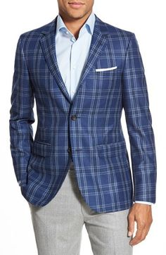 $595, Strong Suit Claymore Trim Fit Plaid Wool Sport Coat. Sold by Nordstrom. Click for more info: https://lookastic.com/men/shop_items/355897/redirect