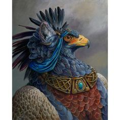 Elblich  Second General  Fantasy Gryphon Print  Blue by windfalcon