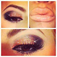 sparkle eyeshadow/nude lips/great eyebrows.