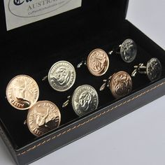 Each set in the Australian Coin Cufflinks – 4 Pair Set is handmade to ensure that each pair is as individual as the person wearing it. No two coins are the same. Uniquely Australian, each coin has unique blemishes acquired circulating the great nation of Australia  – if only these Australian Coin Cufflinks could talk! Price: AUD 149.80