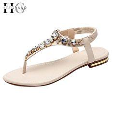 16.99$  Buy here - http://aliilw.shopchina.info/go.php?t=32810183414 - HEE GRAND Rhinestoe Fashion Women Sandals 2017 Summer Shoes Elastic Band Crystal Flat With Flip Flops XWZ2031  #buyonlinewebsite