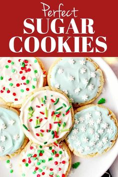 Perfect Sugar Cookies Recipe - the best chewy sugar cookies with vanilla cream cheese frosting and festive sprinkles! Perfect Sugar Cookies Recipe - the best chewy sugar cookies with vanilla cream cheese frosting and festive sprinkles! Candy Recipes, Baking Recipes, Holiday Recipes, Cookie Recipes, Dessert Recipes, Christmas Recipes, Mint Chocolate Chip Cookies, Chewy Sugar Cookies, Sugar Cookies Recipe
