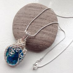 Turquoise pendant necklace, wire wrapped pendant, turquiose pendant by LinniesJewels on Etsy