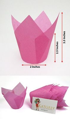 Katgely Pink Tulip Cupcake Liner Medium Height to Inches Tall (Pack of Cupcake Liners, Baking Cups, Pink Tulips, Container, Medium, Medium Long Hairstyles