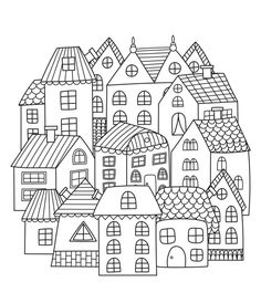 House Doodle Görsel, Stok Fotoğraf ve Vektörleri - Circle shape pattern with houses for coloring book. Black and white background. House Colouring Pages, Pattern Coloring Pages, Printable Coloring Pages, Coloring Pages For Kids, Coloring Books, Free Coloring, Doodle Drawings, Doodle Art, House Doodle