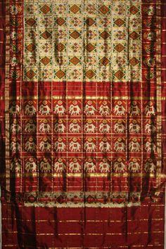 Pochampally Saree Rs.9600.00 at http://www.chloehouse.in/beige-maroon-pochampally-silk-saree/