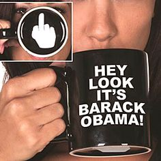 "Mug looks like the typical ""Have A Nice Day"" model... until you drink!  Only then is the one finger salute to the Commander in Chief revealed! $15.98"