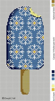 Ice Cream Popsicle - free pattern for cross stitch or hama beads