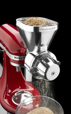 Grain mill attachment of die cast metal is made for all KitchenAid® stand mixers. It can grind low-moisture, non-oily grains like wheat, corn, rye, oats, rice and barley.