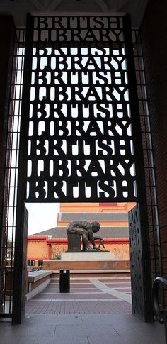 Gateway to The British Library.  Don't miss the opportunity to visit this library. Marvelous art and the most impressive manuscript collection around!
