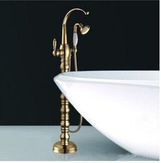 High Quality total brass Gold Floor Standing Telephone Style bathtub faucet European Design bath and shower faucet set shower
