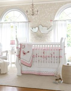 Girl Nursery Idea 3 | Pottery Barn Kids live the clean light colored walls! With white and pink decor. But with bunnies!