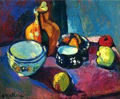 Henri Matisse - Dishes and Fruit on a Red and Black Carpet, 1901 Het is een geschilderd werk van een stilleven. Er worden grillige lijnen en complementaire kleuren gebruikt.