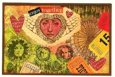 Nostalgic Collage': Sunday Postcard Art Challenge - Hearts
