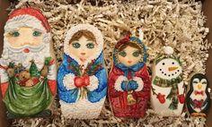 Handpainted Christmas Nesting Dolls Christmas Sugar Cookies, Christmas Ornaments, Matryoshka Doll, Iced Cookies, Gingerbread, House Ideas, Santa, Hand Painted, Dolls