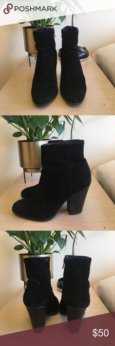 Nine West Black Suede Boots Classic Nine West Black Suede boots, size 5. In great shape, one imperfection in second to last photo. Final sale. Nine West Shoes Ankle Boots & Booties