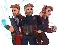 Avengers Infinity War - The Chrises by Captain Corgi Art Thor Captain America Starlord