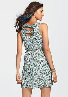 Printed Lace Knot Back Dress - g. Yeah, Delia's stuff is always too short for me. Curse my long legs.