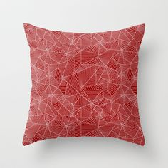 White Spiderwebs on Red Background Throw Pillow by Rebecca Pocai