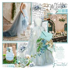 """""""Beautiful....."""" by purplecherryblossom ❤ liked on Polyvore featuring Seed Design, Georges Hobeika, STOW, TIBI, BP., sandals, wedding, gown, lightblue and Myownstyle"""