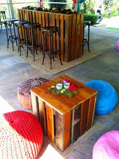 Moroccan and crochet poufs with Wooden Crate Coffee Table