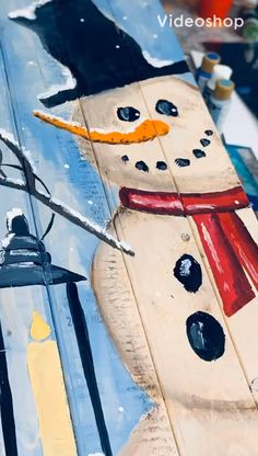 Happy Snowman In Paint Party Headquarters we have almost 800 talented women! Some just getting started teaching paint parties and others already making money teaching paint parties! Wooden Christmas Decorations, Christmas Wood Crafts, Christmas Signs Wood, Snowman Crafts, Rustic Christmas, Christmas Art, Christmas Projects, Holiday Crafts, Christmas Ornaments