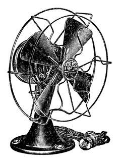 Retro Clip Art - Cute Electric Fan - The Graphics Fairy