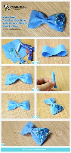 wonderful tutorial diy Royal Blue Felt Beads Hair Bows crafts - hair ornaments