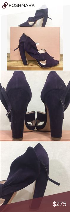 Miu Miu Eggplant Suede 39.5 Peep Toe Pumps The heel is absolutely gorgeous!!!! Peep toe very soft suede pump. Comes with authenticity card and box and dust bags. Size 39.5 Miu Miu Shoes Heels