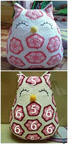 Crochet African Hexagone Flower Owl Free Pattern-Amigurumi #Crochet Owl Free Patterns