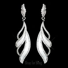 Antique Silver White Dangle Earrings E 6 33 99 Jewelry Bridal Formal
