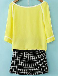 Yellow Round Neck Chiffon Top With Black Plaid Shorts US$29.67