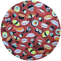 kokka japan, sushi red fabric