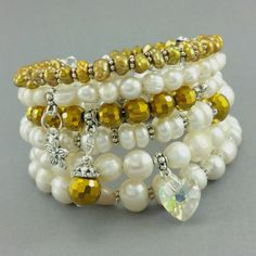 Bransoletka perły naturalne ecru złoty kryształek Dangles, Beaded Bracelets, Jewelry, Malachite, Jewellery Making, Jewerly, Jewelery, Pearl Bracelets, Jewels
