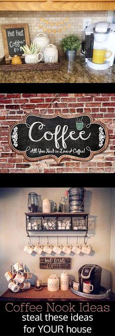coffee bar ideas - DIY home coffee bar. I love coffee area in kitchens!