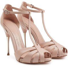 Alexander McQueen Leather Peep-Toe Sandals (1.219.535 COP) ❤ liked on Polyvore featuring shoes, sandals, heels, alexander mcqueen, pumps, pink, high heel platform sandals, stiletto sandals, pink leather sandals and heels stilettos