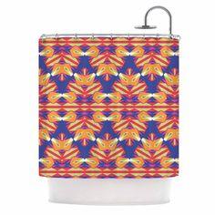 Kess InHouse Miranda Mol Ethnic Border Indigo Orange Shower Curtain