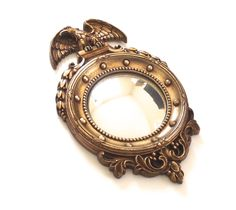 Federal Mirror, Vintage Round Bubble Mirror with Gold Eagle Frame Made by Syroco Wood by planetalissa on Etsy